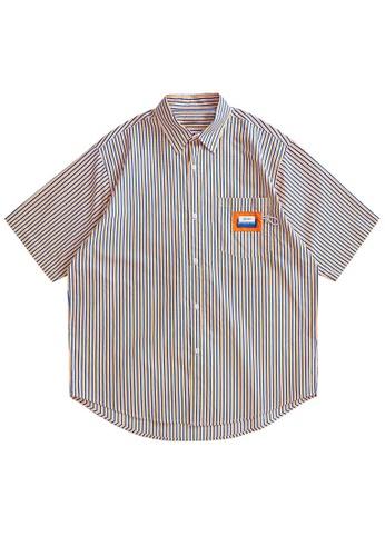 Twenty Eight Shoes Loose Contrast Stripe Short Shirt 2251S21 EF9B6AA85E637EGS_1