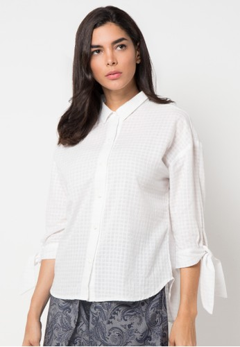Raspberry white Carry Bow Sleeve Shirt RA572AA65YQWID_1