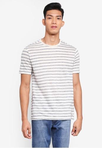 MANGO Man 白色 條紋亞麻T恤 2DD72AA912040AGS_1