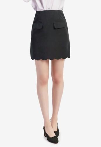 Yoco black Scallop Hem Skirt DE392AAC3221A3GS_1