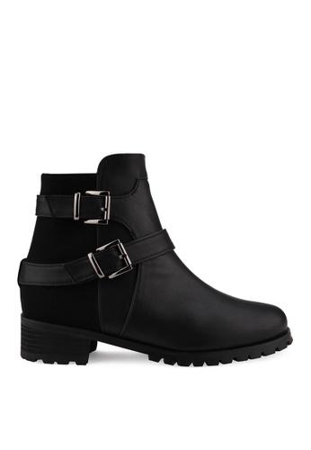 SPUR black Wide Belted Boots SP642SH2VRTCHK_1