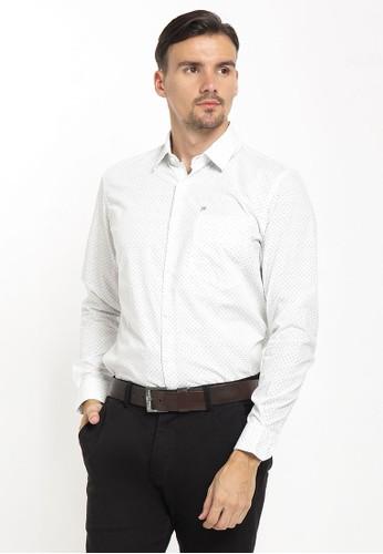 Johnwin white Johnwin - Slim Fit - Kemeja Formal - Polkadot - Single Pocket - Putih A554BAADD0F84DGS_1