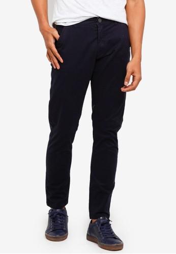 Brave Soul navy Cotton Twill Stretch Chino Pants 09F4EAA6E81CFEGS_1