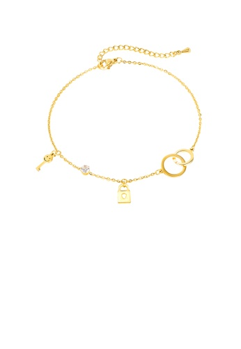 Glamorousky white Fashion and Simple Plated Gold Geometric Circle Lock 316L Stainless Steel Anklet with Cubic Zirconia 4CBBFAC72AF22AGS_1