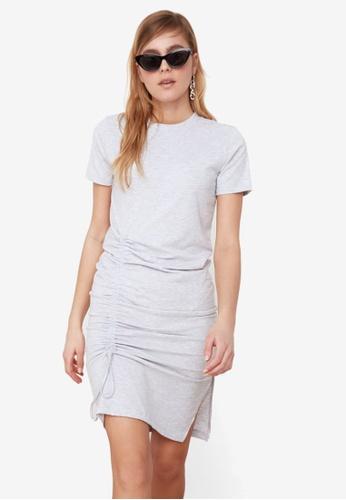 Trendyol grey Side Gathered Dress 87B86AA0C8B295GS_1
