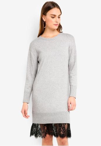 ESPRIT 灰色 平面針織洋裝 B4ED9AA962C721GS_1