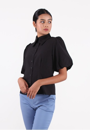 VOIR black VOIR Executive Vintage Puritan Collared Puff Sleeves Blouse - BLACK D389FAA73F565CGS_1