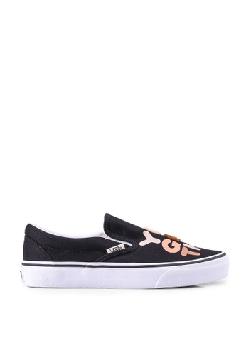 VANS black Breast Cancer Slip-Ons B1E91SH6BFABCAGS_1