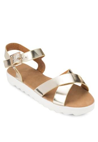 Saxony 交叉帶繞踝厚底防滑涼鞋、 女鞋、 鞋RubiSaxony交叉帶繞踝厚底防滑涼鞋最新折價