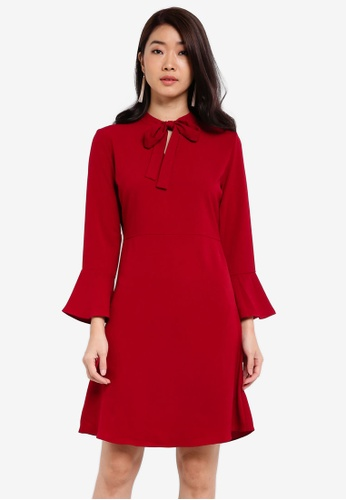 ZALORA red Essential Tie Front Fit & Flare Dress A4AC3ZZ62AD09CGS_1