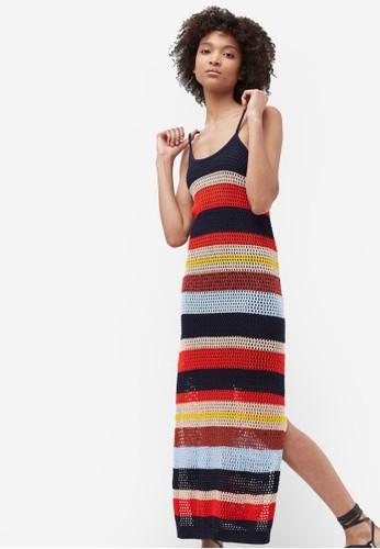 彩色鉤針條紋連身裙, 服飾zalora 男鞋 評價, 服飾
