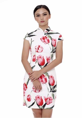 Mandarin Peony Cheongsam white and multi Mandarin Peony PINK TULIP Cheongsam Dress MA048AA0UJGQID_1