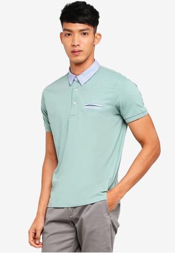 OVS 綠色 短袖撞色POLO衫 251D4AA7535341GS_1