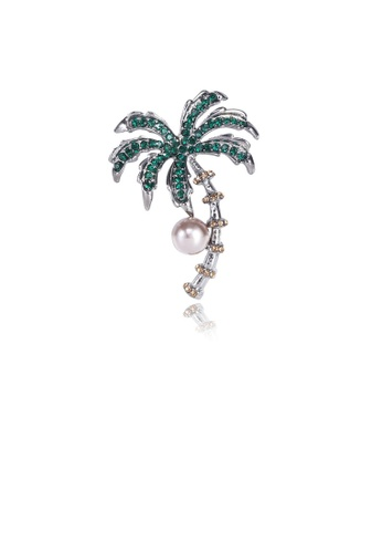 Glamorousky white Fashion Personality Coconut Tree Imitation Pearl Brooch with Green Cubic Zirconia 9ED9CACC22BD61GS_1