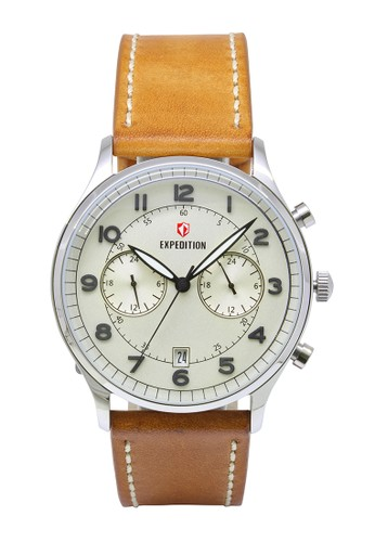 Expedition brown Expedition Jam Tangan Pria - Brown Silver - Leather - 6749 MCLSSSL EX136AC0VF8OID_1