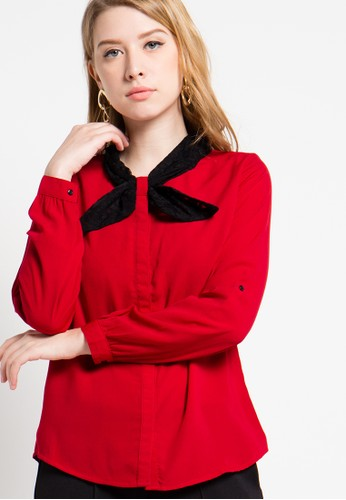 FAME red Long Sleeves Blouse FA157AA63YLCID_1