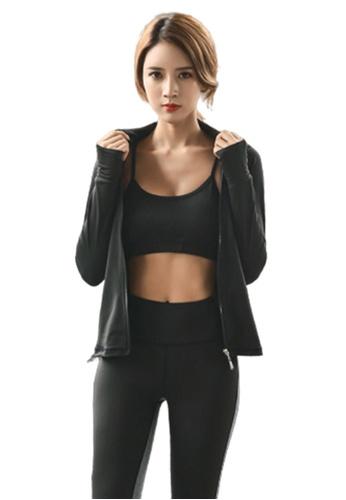 B-Code black ZYG3057-Lady Quick Drying Running Fitness Yoga Sports Jacket -Black 123DCAAE5962BCGS_1