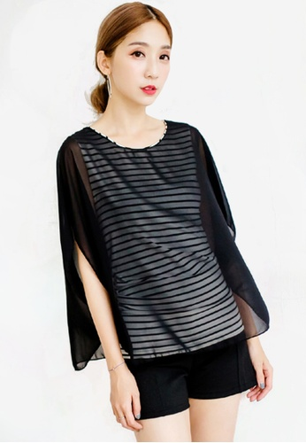 Sesura black Essential Stripes 2-in-1 Top 6F39EAAB6F6C90GS_1