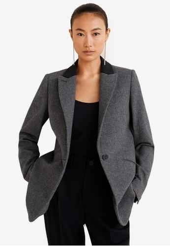 Mango grey Structured Wool Blazer FA2DDAADE6AA3EGS_1