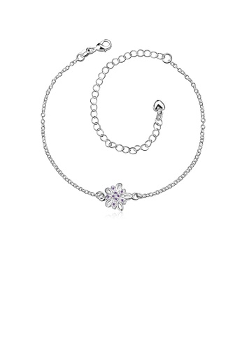 Glamorousky purple Fashion Classic Flower Purple Cubic Zircon Anklet F2C65AC579B7DAGS_1