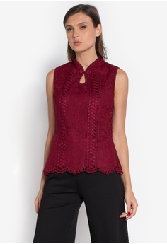 CIGNAL red Lace Chinese Blouse CI922AA0KND2PH_1