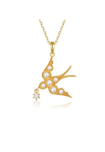 SUNSET 金色 Premium 925 Sliver Pearl Necklace 14E7BACAFB08CFGS_1