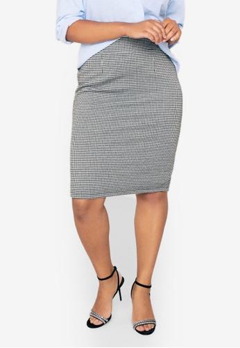 Violeta by MANGO black Plus Size Houndstooth Skirt 38951AA00CF750GS_1