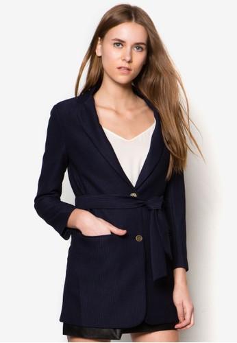腰帶長版西裝外套, 服飾, esprit 西裝西裝外套