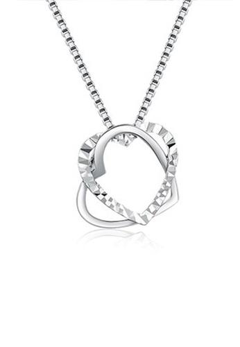 MaBelle silver 14K/585 White Color Gold Hearts Pendant Necklace 63DB3AC07F327FGS_1