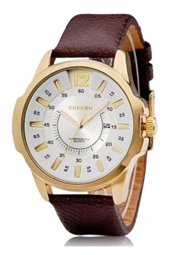 curren white Curren Men's Brown Leather Strap Watch 8123 Gold White CU537AC0SEXYMY_1