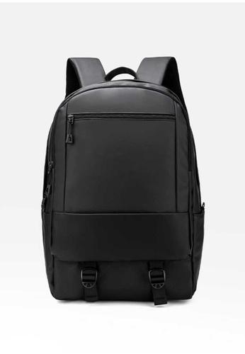 Lara black Men's Minimalist Wear-resistant Water-repellent Oxford Cloth Zipper Backpack - Black 1AD7EACAED66DDGS_1