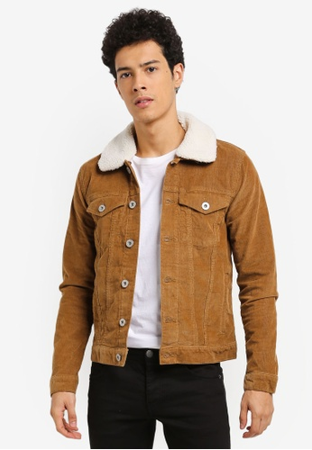 River Island brown Collar Cord Jacket FFBADAA47F8664GS_1