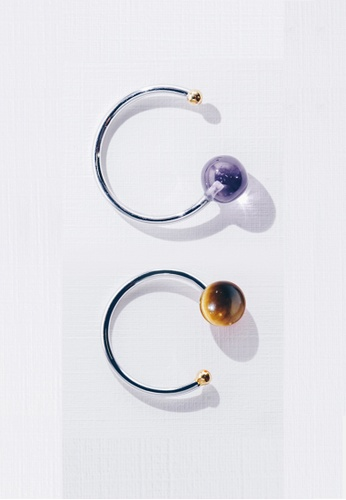 Paradeisos Jewellery brown and purple and silver and gold Galaxy Natural Amethyst x Tiger's Eye Ring Set PA467AC0GHUESG_1