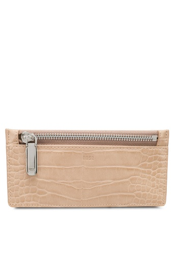 nose beige Faux Croc Card Holder 766ADAC4FDA960GS_1