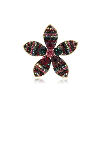 Glamorousky silver Fashion Bright Plated Gold Color Flower Brooch with Cubic Zirconia 088C0ACC9B4AA8GS_1