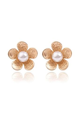 Kings Collection gold Vintage Flower Pearl Earrings KJEA18076 F1654ACDCEB43DGS_1