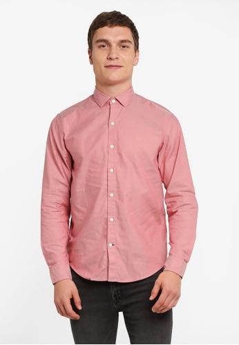 Timberland red Long Sleeve Lane Oxford Slim Shirt TI063AA0SJS0MY_1