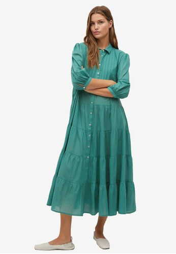 Mango green Buttoned Midi Dress C4C26AA577DCC5GS_1