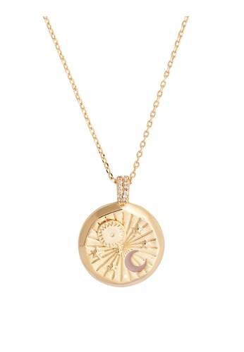 Wanderlust + Co gold Spinning Sun Taupe & Gold Necklace C8DA6ACAD12138GS_1