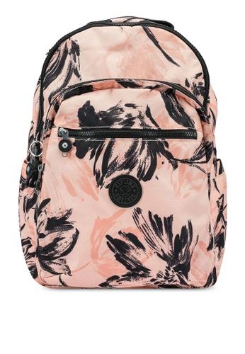 Kipling black and orange Seoul Coral Flower Backpack B9341AC8BFD811GS_1