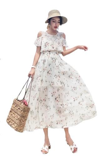 Halo beige Printed Cold Shoulder Chiffon Beach Dress 0E9BEAA430661EGS_1
