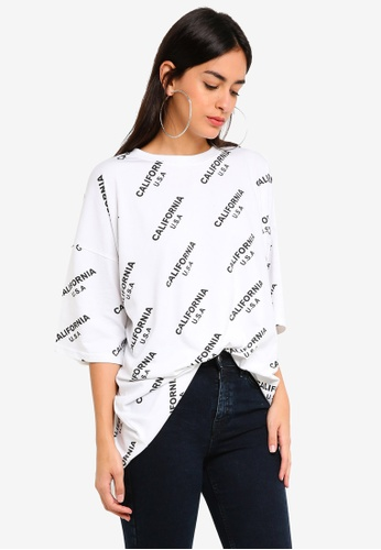 MISSGUIDED white California Oversized Tshirt CEED4AAB988785GS_1