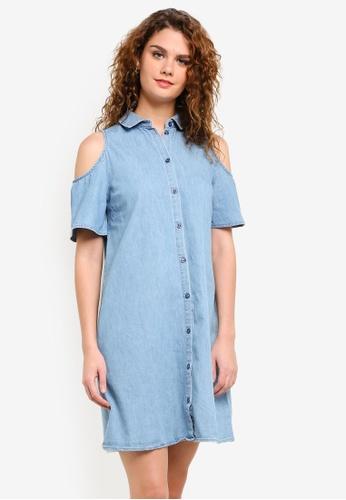 Dorothy Perkins blue Mid Wash Denim Cold Shoulder Shirt Dress DO816AA0RP4BMY_1