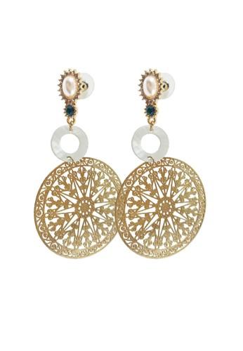 La Miina gold Georgette Gold Round Earrings 6DAD8ACA9E866FGS_1