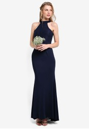 ZALORA navy Bridesmaid Halter Mermaid Maxi Dress FD58CAAF17C514GS_1