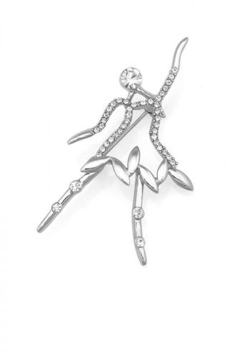 Glamorousky silver Ballerina Brooch with Silver Austrian Element Crystal B432BAC40C07B2GS_1