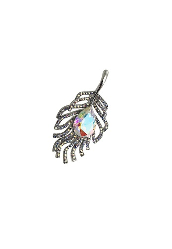 LOVE AND LIFE silver Love & Life Autumn Leaf Brooch Premium Crystals 11E9BAC371F9F3GS_1