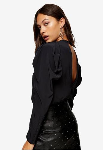 TOPSHOP black Black Mutton Sleeve Blouse 3FD54AA076845EGS_1