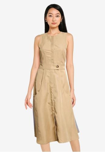 URBAN REVIVO grey and brown Casual Dress BE9F8AA5012ED6GS_1