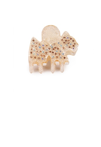 Glamorousky silver Simple and Cute Golden Pony Small Hair Claw with Cubic Zirconia CB64EACE27B8C7GS_1